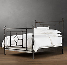 19th C. Quatrefoil Iron Bed With Footboard