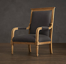 Louis XVI Hand-Carved Upholstered Chair