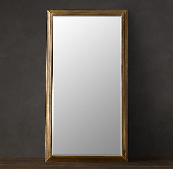 English Aged Brass Mirror
