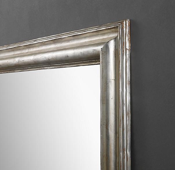 Baroque Aged Silver Leaf Leaner Mirror