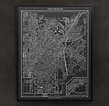 1900s Lithograph Map of Los Angeles