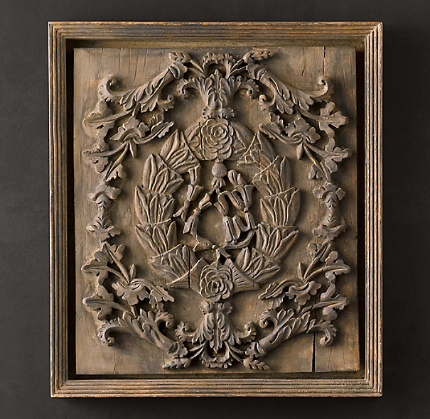 - Hand-Carved Rococo Wood Panel Natural Small