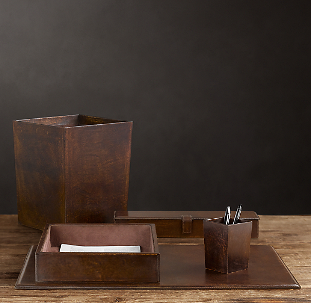Artisan Leather Desk Accessories Chocolate