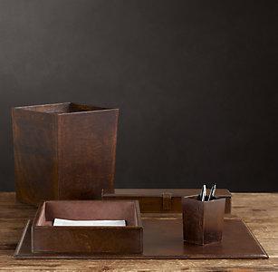 Artisan Leather Desk Accessories - Chocolate