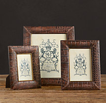 Distressed Crocodile Leather Tabletop Frames