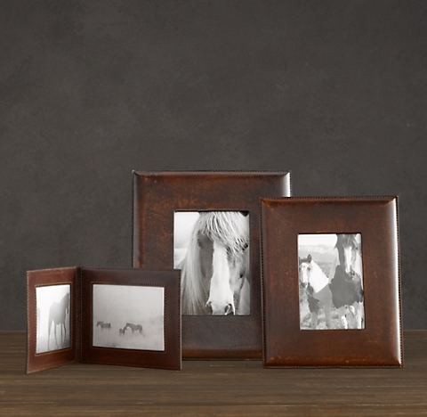 artisan leather wide tabletop frame chocolate