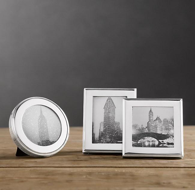 hampton mini narrow tabletop frames set of 3 silver plated - Mini Picture Frames