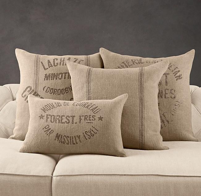 Vintage French Grain Sack Linen Pillow Cover