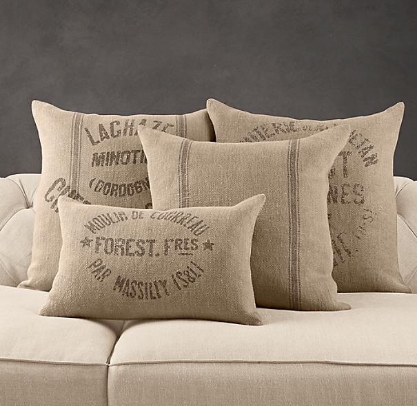 Vintage French Grain-Sack Linen Pillow Cover