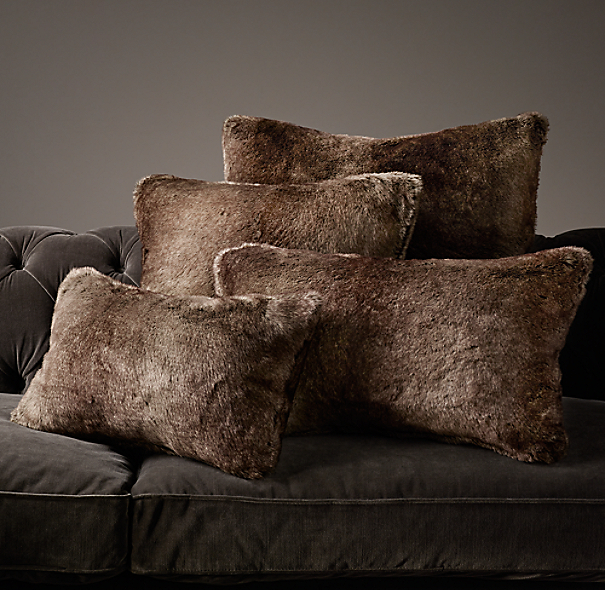 Throw Pillows Rust : Luxe Faux Fur Pillow Cover - Mink
