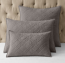 Stonewashed Belgian Linen Diamond-Stitch Sham