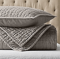 Vintage Washed Hand Quilted Belgian Linen Coverlet