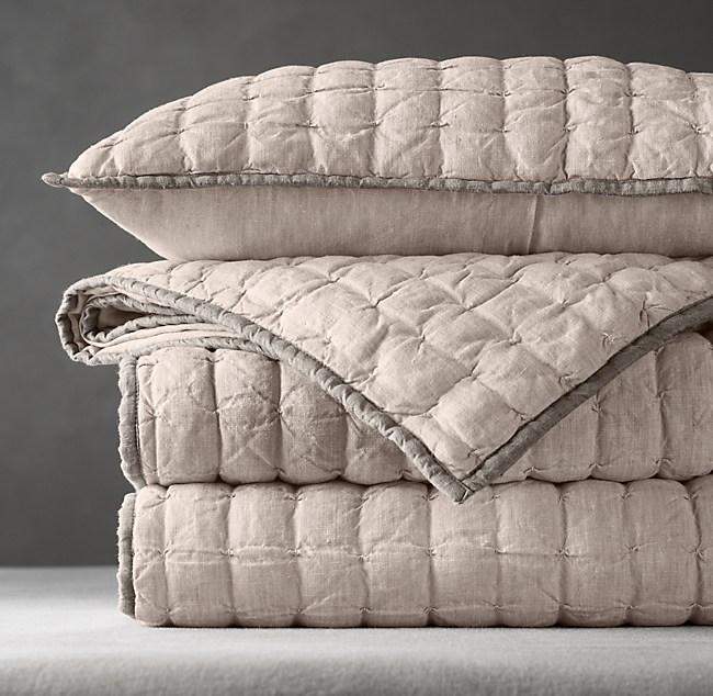 Vintage Washed Tufted Belgian Linen Quilt