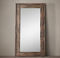 Salvaged boat wood leaner mirror for Long stand up mirror