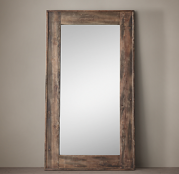 Salvaged boat wood leaner mirror for Long wall hanging mirrors