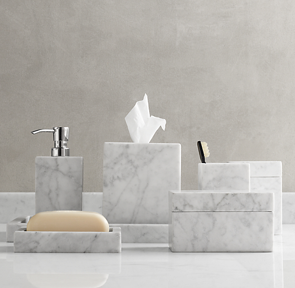 Carrara marble bath accessories for Marble bathroom accessories