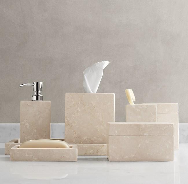 crema marble bath accessories