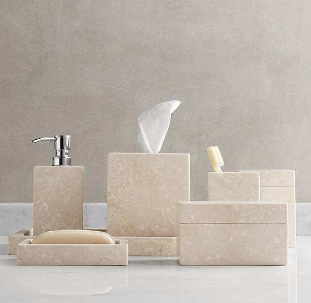 Crema marble bath accessories for Marble toilet accessories