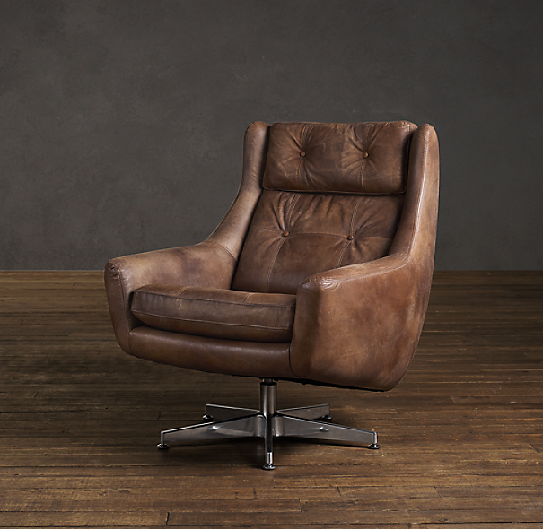 Restoration Hardware Chairs: Motorcity Leather Swivel Chair
