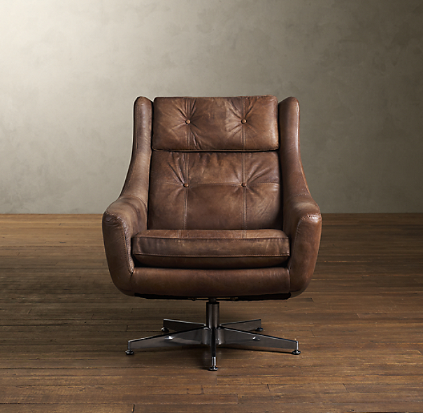 Restoration Hardware Leather Chair: Motorcity Leather Swivel Chair