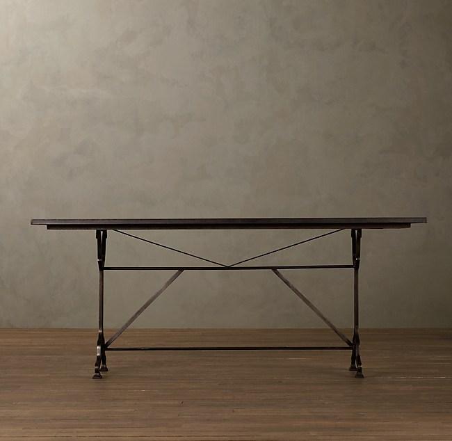 Factory Zinc Cast Iron Rectangular Dining Table - Restoration hardware zinc table