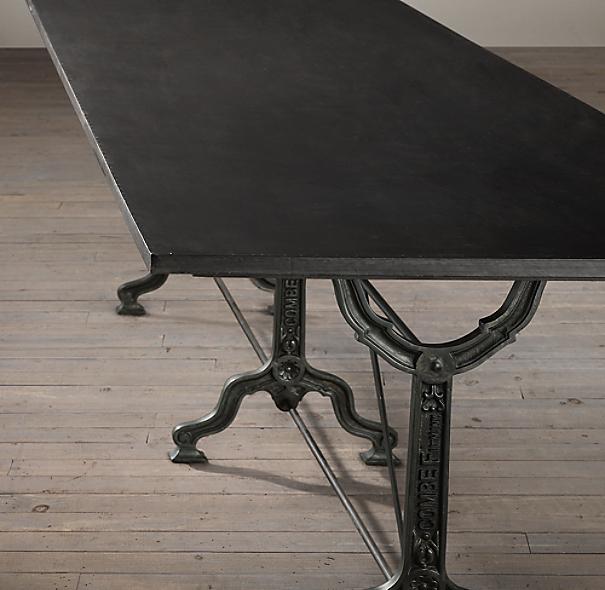 92 Quot Factory Zinc Amp Cast Iron Rectangular Dining Table