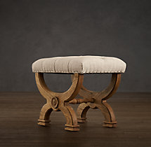 Neoclassical Rondelle Tufted Stool
