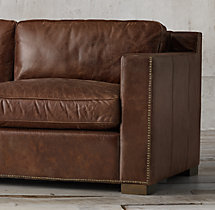 10' Collins Leather Sofa With Nailheads