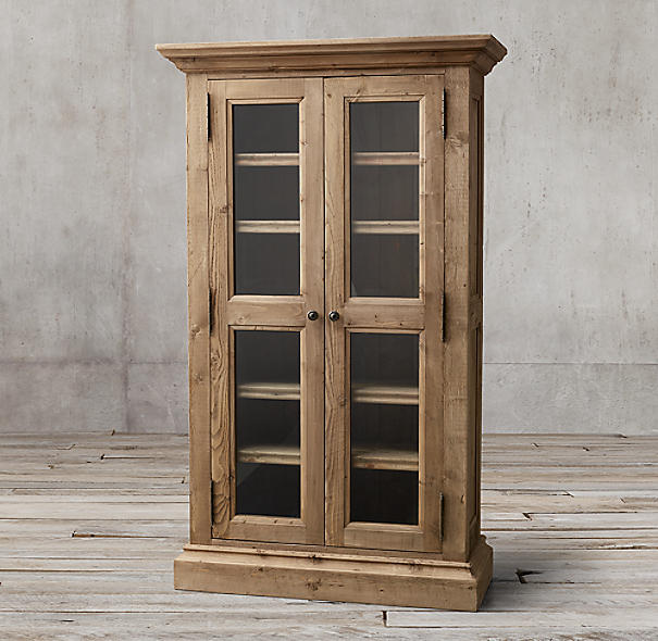 Salvaged Kitchen Cabinets For Sale: Salvaged Wood Glass Double-Door Cabinet