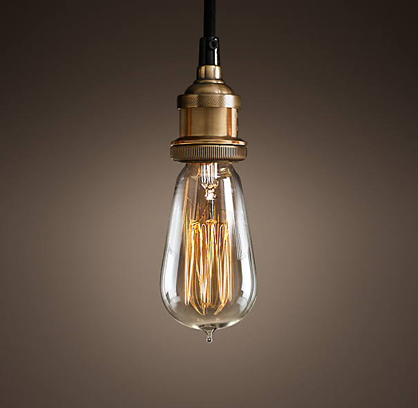 20th C Factory Filament Bare Bulb Single Pendant