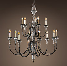 Parisian Wood & Zinc Chandelier 38""