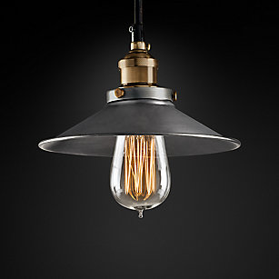 20th C Factory Filament Metal Shade Pendant