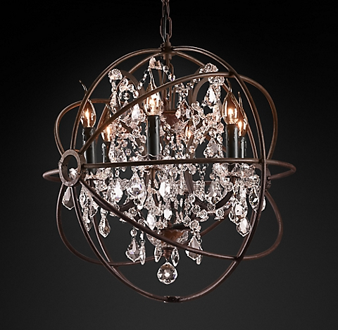 Foucaults Orb Crystal Chandelier Collection RH - Orb chandelier with crystals