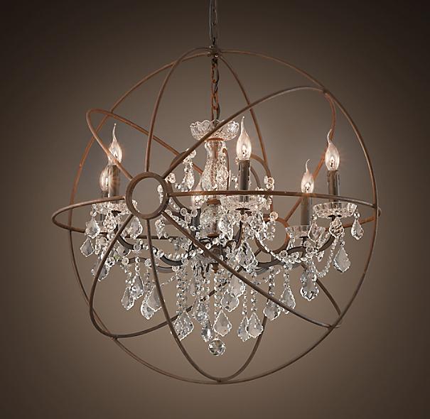 "Restoration Hardware Lighting Chandeliers: Foucault's Orb Clear Crystal Chandelier 32"""