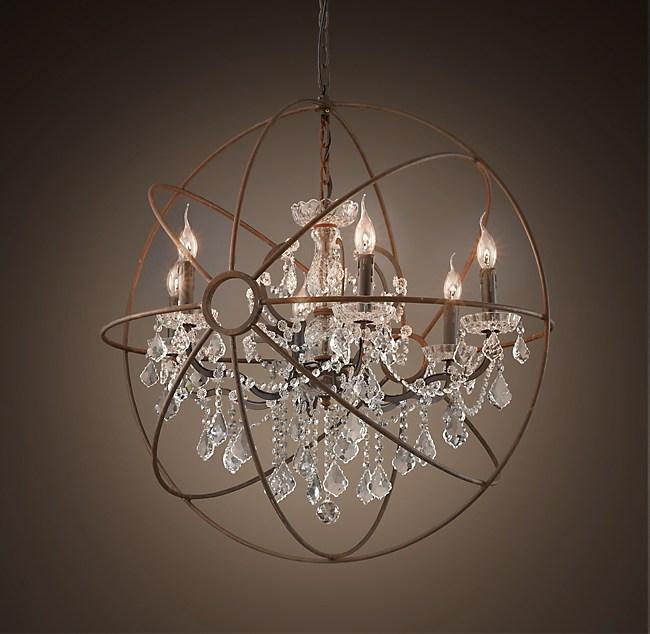 "Restoration Hardware Lighting Orb: Foucault's Orb Clear Crystal Chandelier 32"""