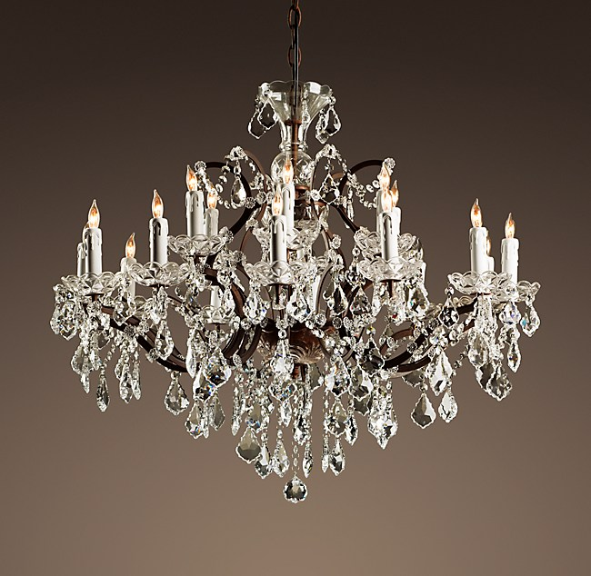 19th C Rococo Iron Clear Crystal Round Chandelier 33