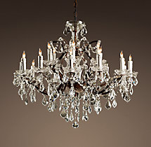 19th C. Rococo Iron & Clear Crystal Round Chandelier 33""