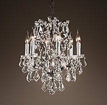 19th C. Rococo Iron & Clear Crystal Round Chandelier 18""