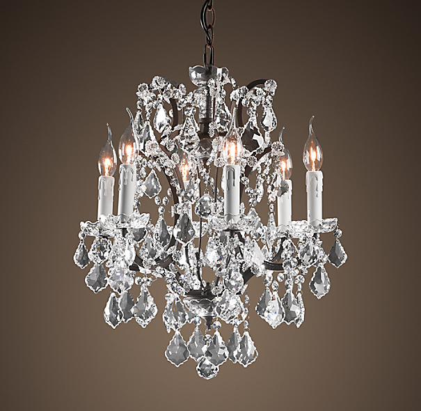 19th c rococo iron clear crystal round chandelier 18