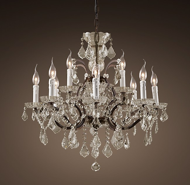 19th c rococo iron clear crystal round chandelier 28 aloadofball Gallery