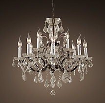 19th C. Rococo Iron & Clear Crystal Round Chandelier 28""