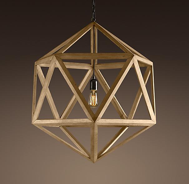 Restoration Hardware Replacement Light Bulbs: Wood Polyhedron Pendant Medium
