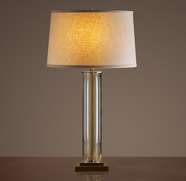 French Column Glass Table Lamp