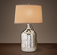 19th C Vintage Mercury Glass Short Table Lamp