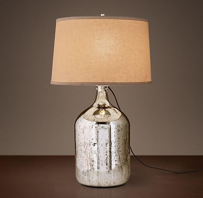 19th C Vintage Mercury Glass Short Table Lamp