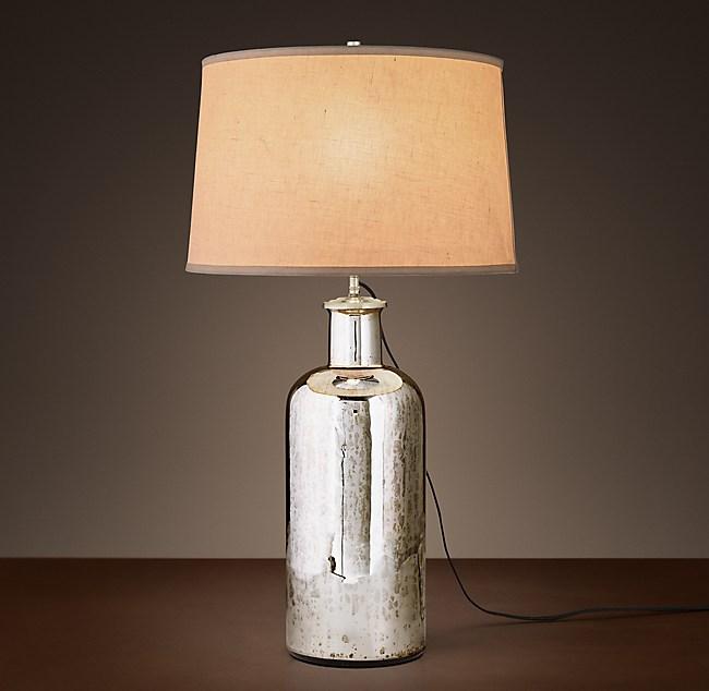 19th C Vintage Mercury Glass Medium Table Lamp