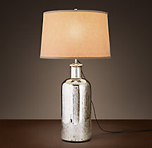 19th C. Vintage Mercury Glass Medium Table Lamp