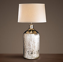 19th C Vintage Mercury Glass Tall Table Lamp