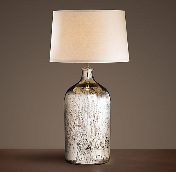 19th c vintage mercury glass tall table lamp. Black Bedroom Furniture Sets. Home Design Ideas
