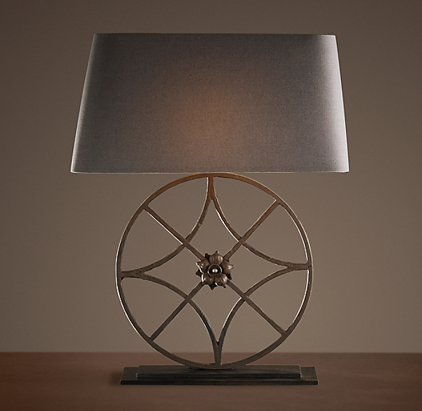 Iron Florette Wheel Table Lamp